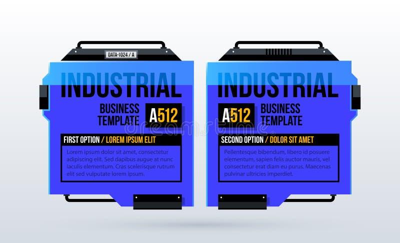 Två blåa alternativ med futuristiska industriella beståndsdelar i techno utformar vektor illustrationer