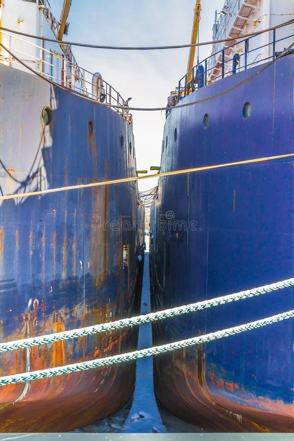 Två blåa havsskepp sid för att sid i porten arkivfoto