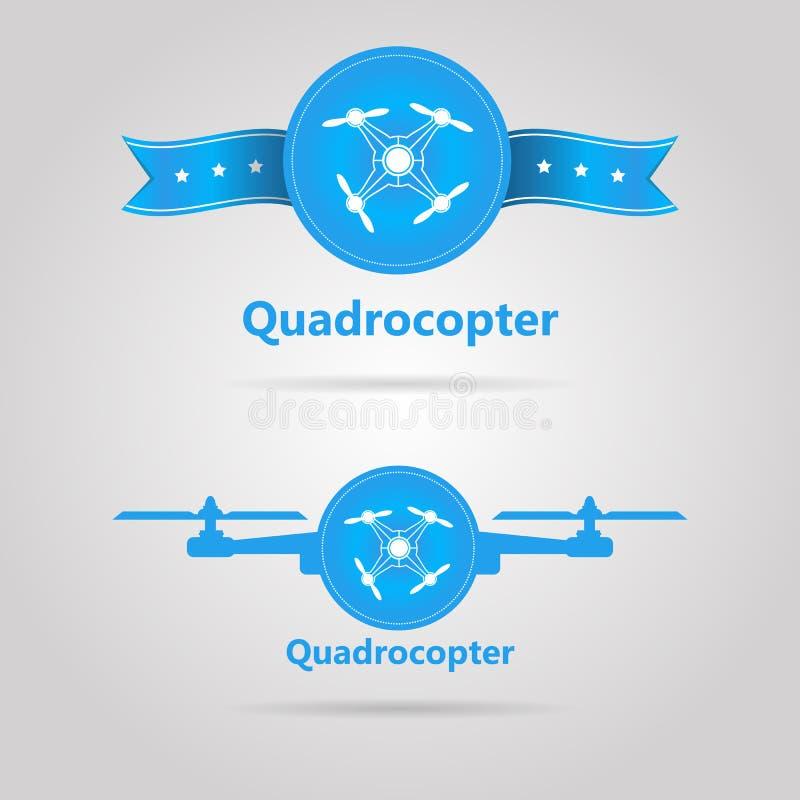 Två blåa tecken av bästa sikt för quadrocopter stock illustrationer