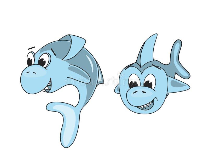 Två blåa tecknad filmhajar som isoleras på vit bakgrund royaltyfri illustrationer