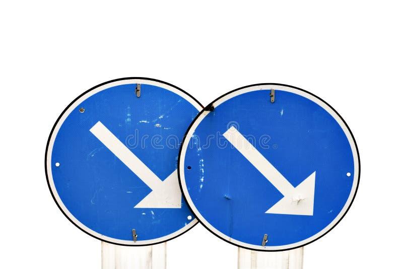 Två blåa vägmärken royaltyfri bild
