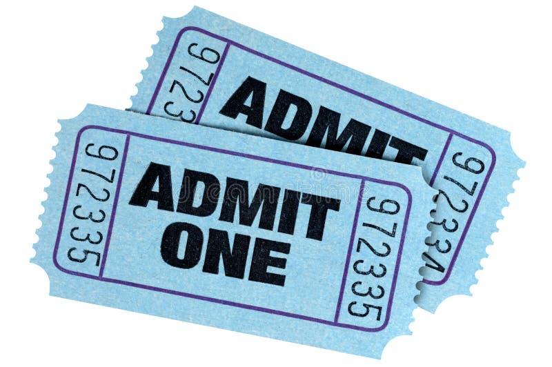 Två blått medger biljetter för en film royaltyfri bild