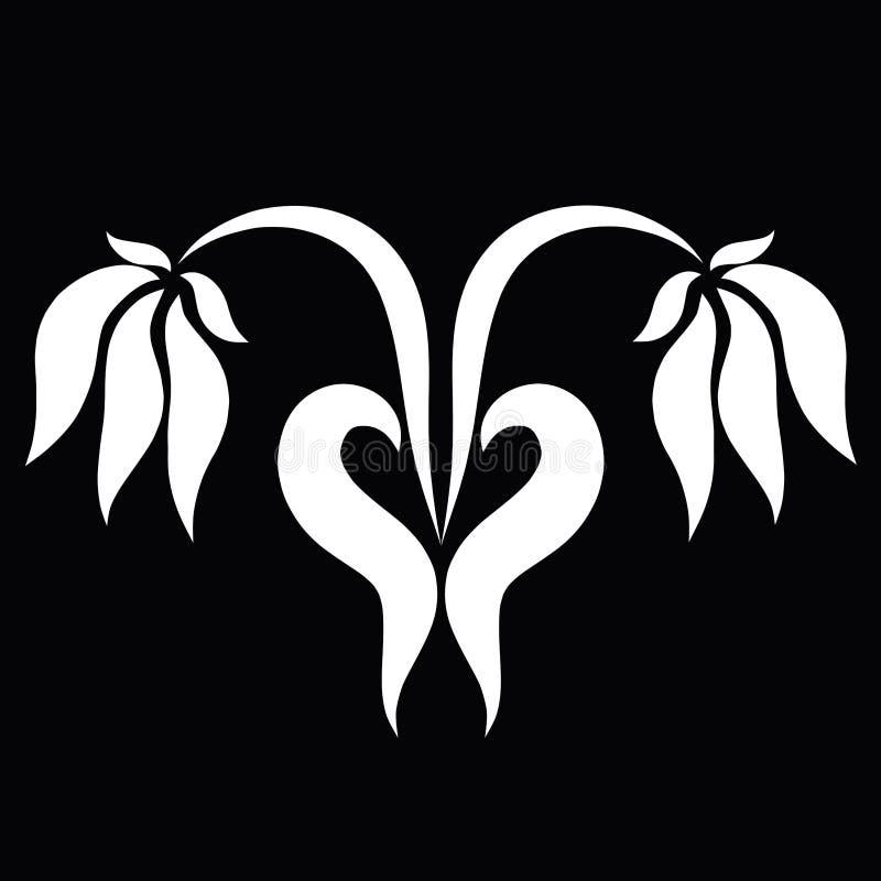 Två blommor tillsammans och en hjärta från deras sidor, svart bakgrund royaltyfri illustrationer