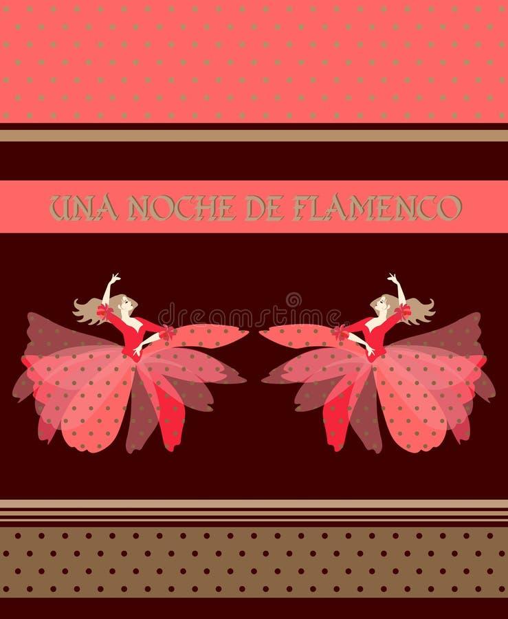 Två blonda spanska dansare som är iklädda pusta kjoldräkter, dans som isoleras på brun bakgrund Natt av flamenco royaltyfri illustrationer