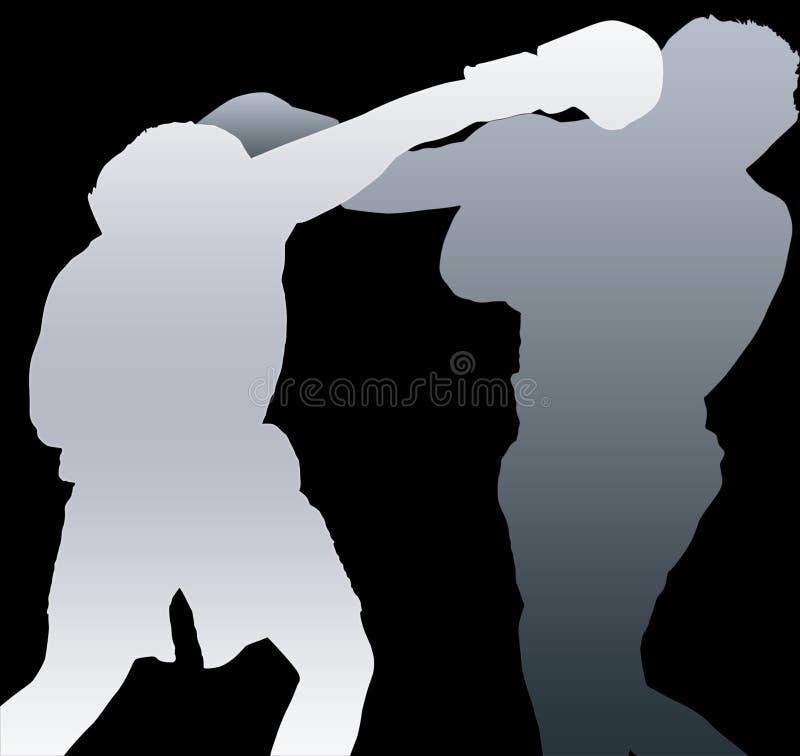 Två boxareskuggor vektor illustrationer