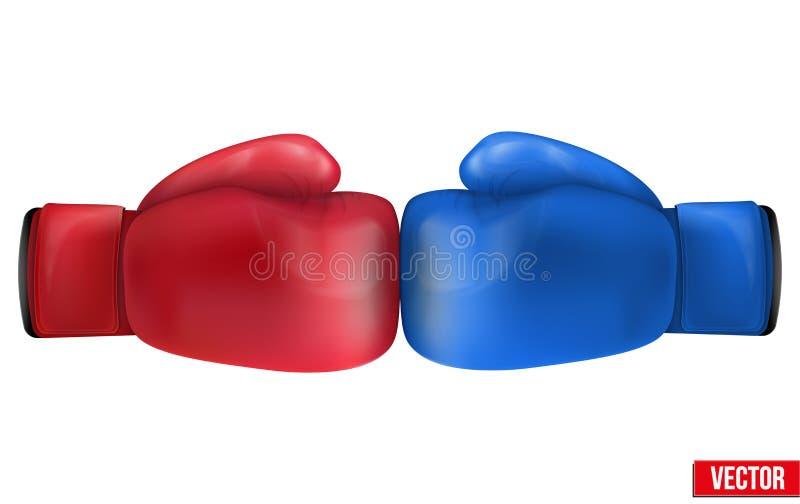 Två boxninghandskar i sammanstötning. Isolerat på vit bakgrund. stock illustrationer