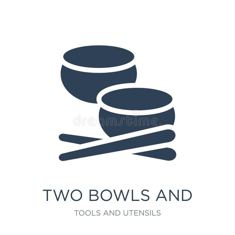 två bunke- och pinnesymbol i moderiktig designstil två bunke- och pinnesymbol som isoleras på vit bakgrund två bunkar och stock illustrationer