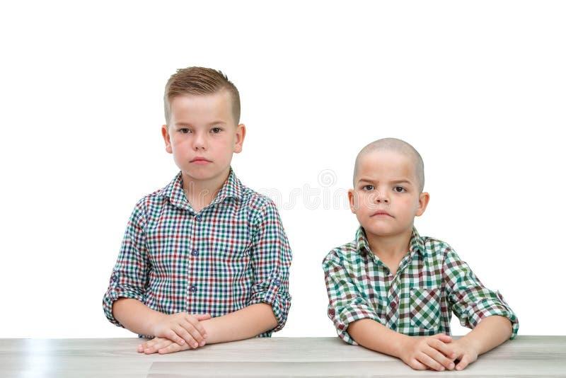 Två Caucasian pojkar, bröder i plädskjortor som poserar på en ljus isolerad bakgrund se f?r kamera arkivbilder