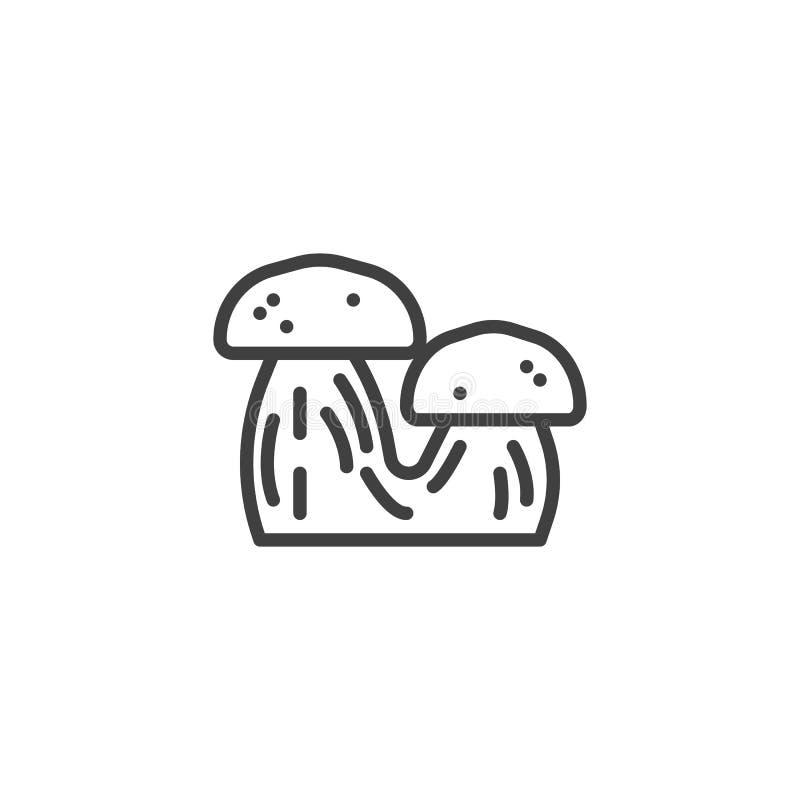 Två champinjoner fodrar symbolen vektor illustrationer