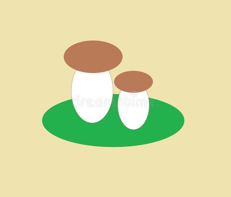 Två champinjoner på en grön äng efter regn vektor illustrationer