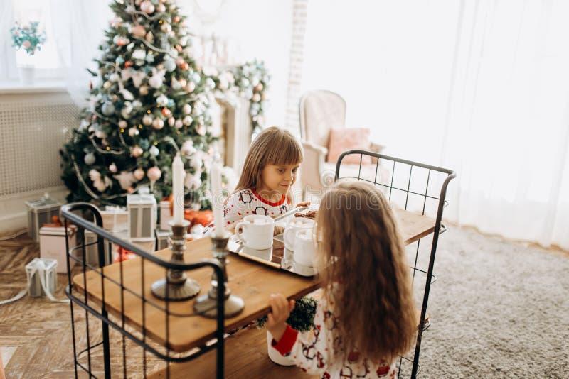 Två charmiga små flickor sitter på tabellen och ska dricka kakao med marshmallower och kakor i det hemtrevliga rummet fotografering för bildbyråer