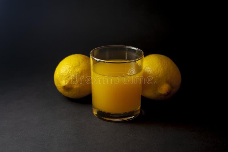 Två citroner med exponeringsglas av fruktsaft royaltyfri foto