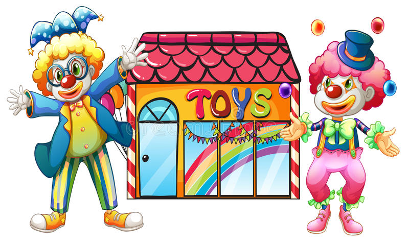 Två clowner framme av ett leksaklager stock illustrationer