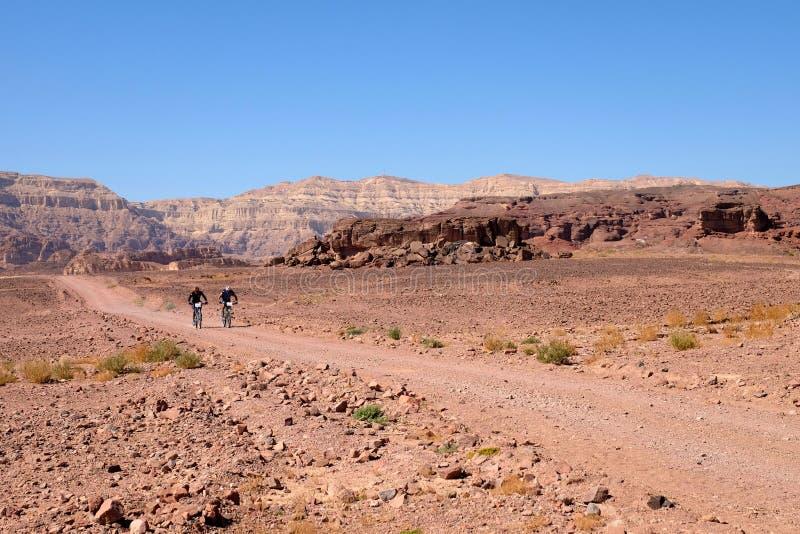 Två cyklister i Timna berg arkivbilder