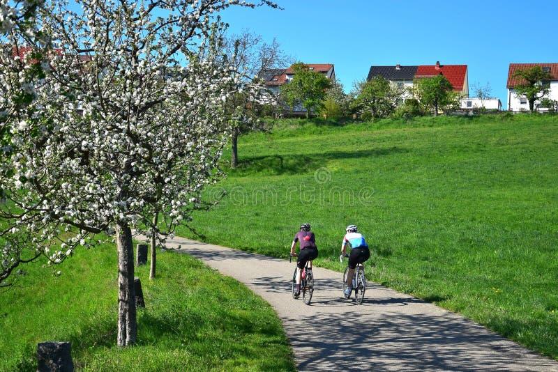 Två cyklister på en slinga i ett härligt landskap i våren i Odenwalden, Tyskland arkivbilder