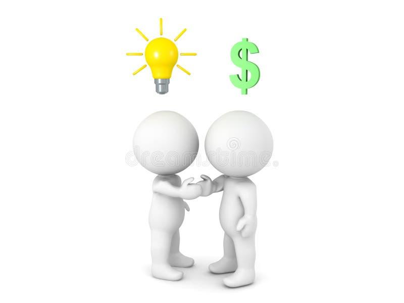 Två 3D tecken, ett med en idé och ett med pengar kommer till a royaltyfri illustrationer
