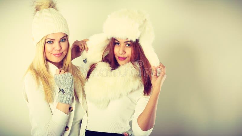 Två damer i den vita dräkten för vinter arkivbild