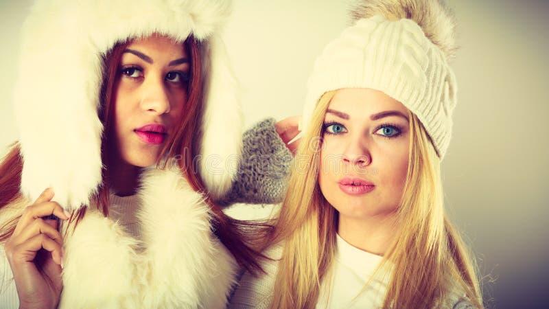 Två damer i den vita dräkten för vinter royaltyfri fotografi