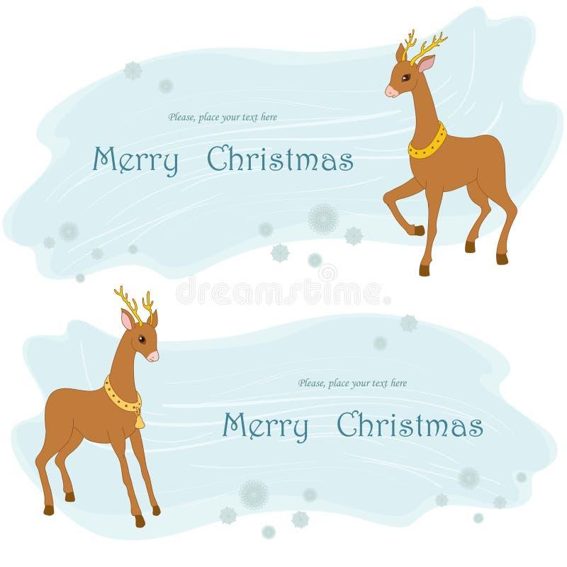 Två deers vektor illustrationer