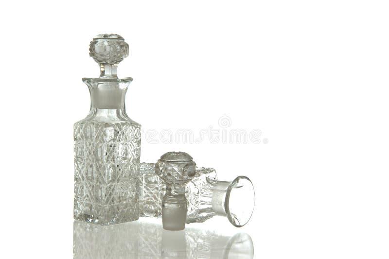 Två dekorativ glass karaff och propp royaltyfri bild
