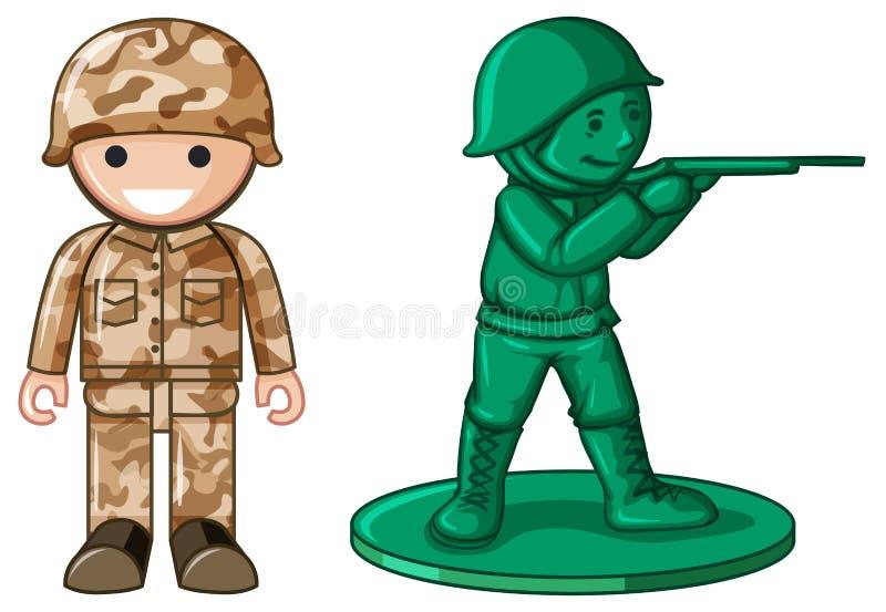 Två designer av den plast- leksaksoldaten stock illustrationer