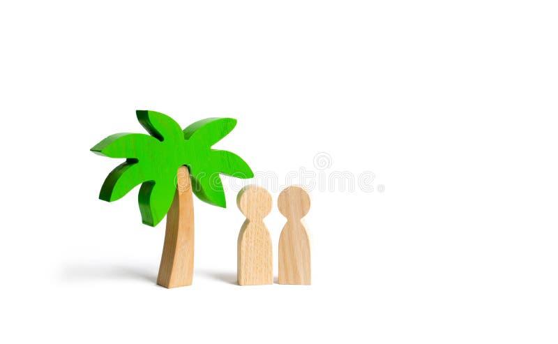 Två diagram av folk under en palmträd på en vit bakgrund En tur för en tur för två Romantisk kryssning, tur för ett par royaltyfria bilder