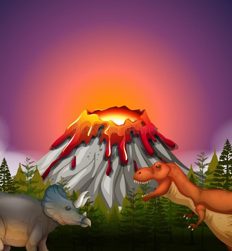 Två dinosaurier som bor vid vulkan vektor illustrationer