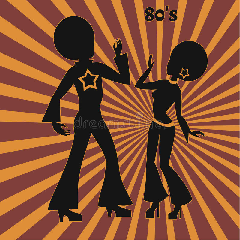 Två diskodansare, retro illustration av seventies royaltyfri illustrationer