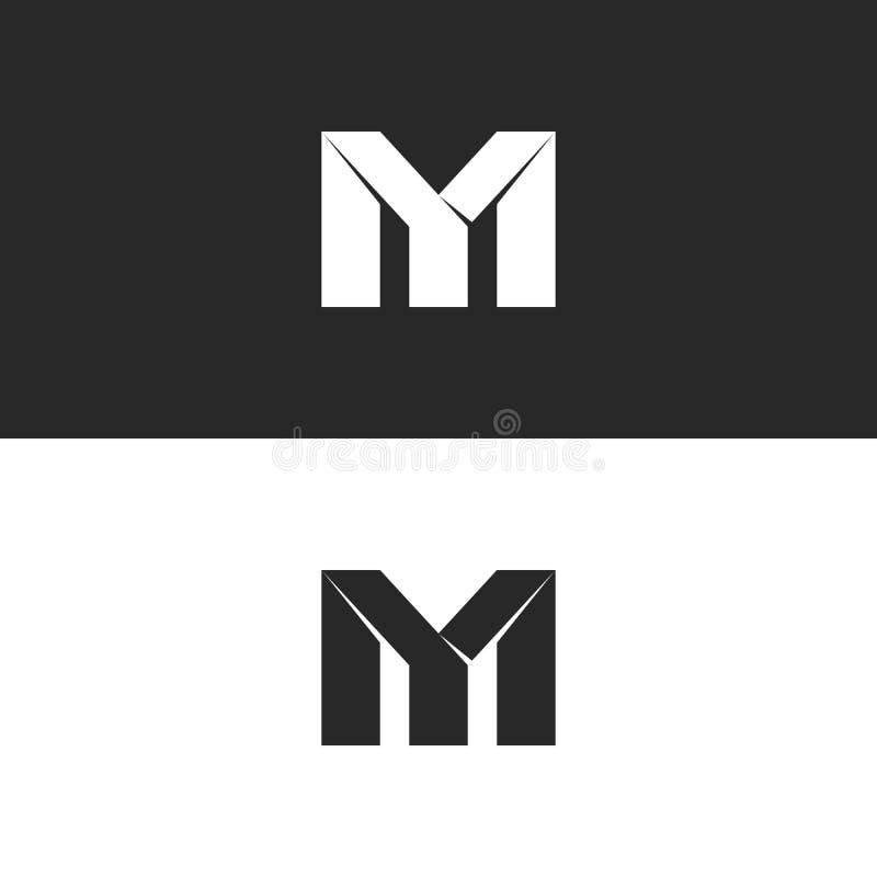 Två djärva bokstäver MITT monogramlogomodell, svartvita överlappande gifta sig initialer M och Y, idérikt pappers- emblem för sym stock illustrationer