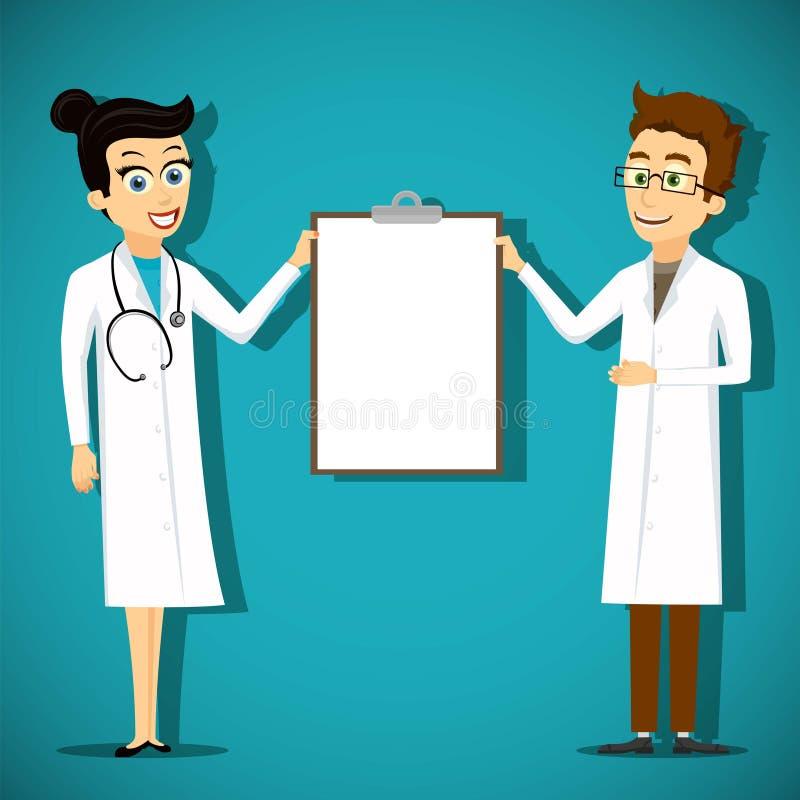Två doktorer som rymmer den tomma skrivplattan stock illustrationer