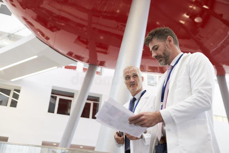 Två doktorer som talar, som de går till och med modernt sjukhus arkivfoton