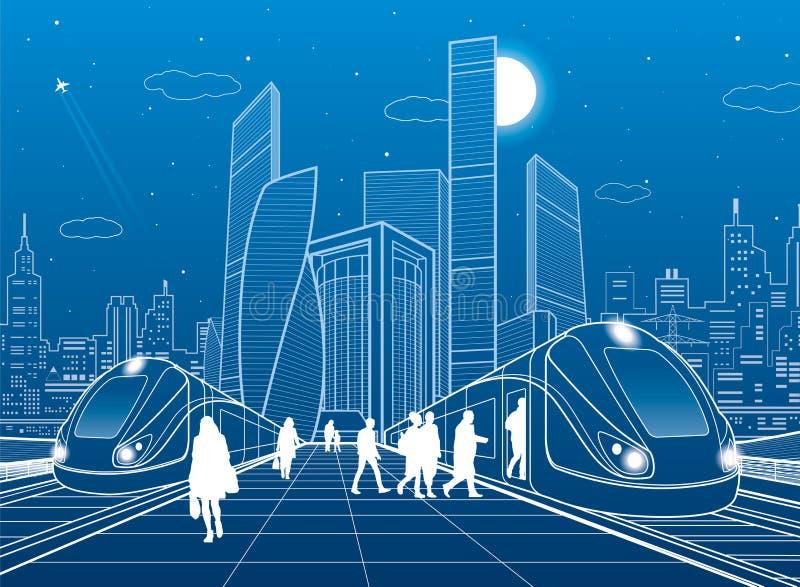 Två drev på järnvägsstationen Passagerare på plattformen Modern nattstad Stads- trans.illustration Stadslivplats whit stock illustrationer