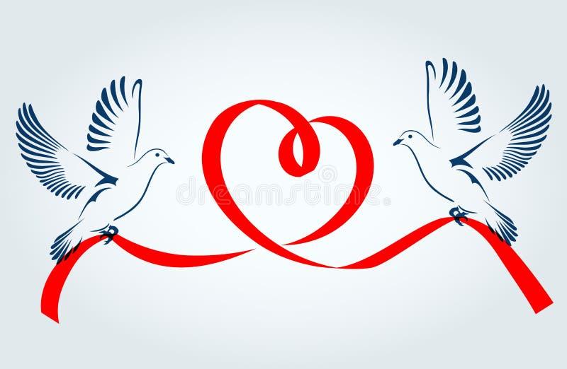Två duvor som flyger med ett rött band i formen av hjärta Duva av fred också vektor för coreldrawillustration stock illustrationer