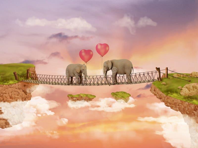 Två elefanter på en bro i himlen med ballonger vektor illustrationer