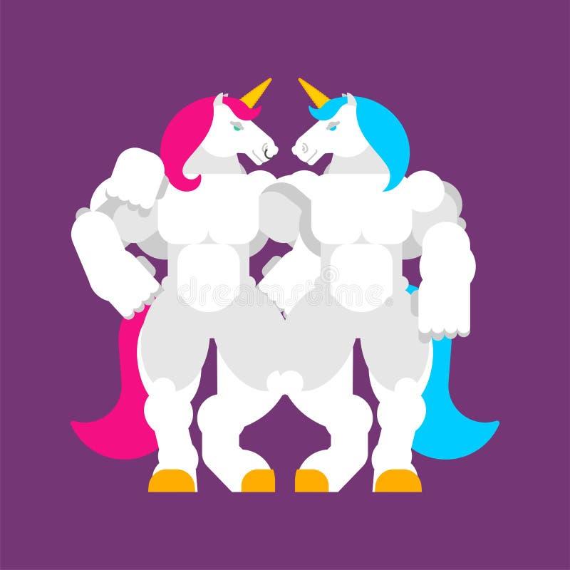 Två enhörningar älskar LGBT-symbol Starka Unicorn Power Kraftig magisk häst tung springare vektor vektor illustrationer