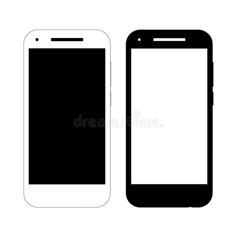 Två enkla vektorsmartphonemodeller stock illustrationer