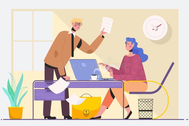 Två erfor affärsledare i ett möte som placeras på en tabell som diskuterar skrivbordsarbete och information på en bärbar dator vektor illustrationer