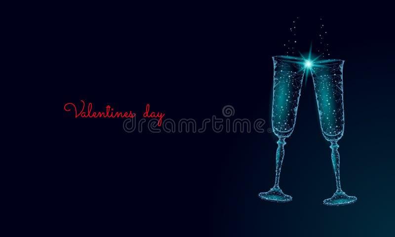 Två exponeringsglas av champagne med mousserar Låga poly polygonal blått som glöder rosta det romantiska förälskelsedatumet Hjärt vektor illustrationer