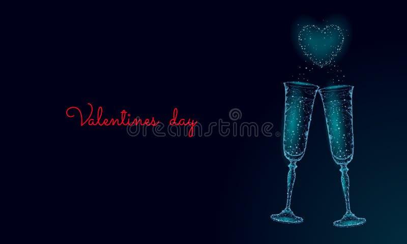 Två exponeringsglas av champagne med mousserar Låga poly polygonal blått som glöder rosta det romantiska förälskelsedatumet Hjärt royaltyfri illustrationer