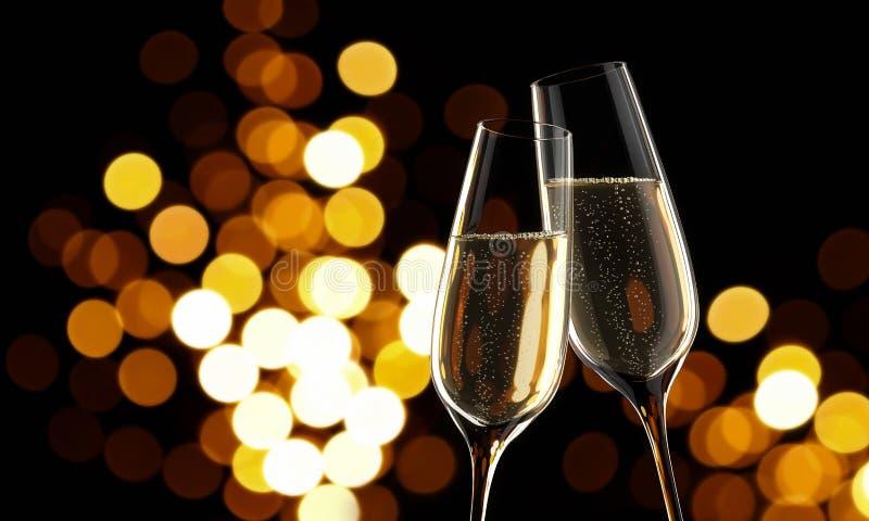 Två exponeringsglas av champagne med oskarpa ljus vektor illustrationer
