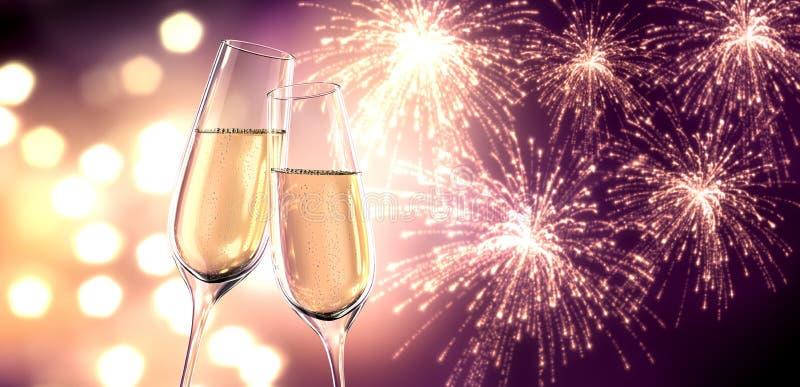 Två exponeringsglas av champagne med oskarpa ljus stock illustrationer