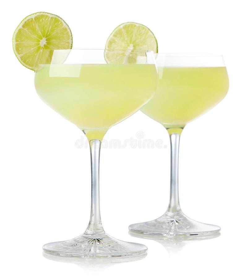 Två exponeringsglas av den klassiska limefruktdaiquiricoctailen royaltyfri bild