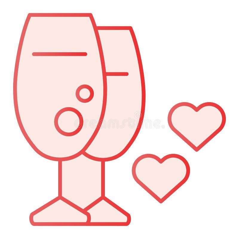 Två exponeringsglas av den plana symbolen för vin Förälskelse klirrar rosa symboler i moderiktig plan stil Exponeringsglas med de royaltyfri illustrationer