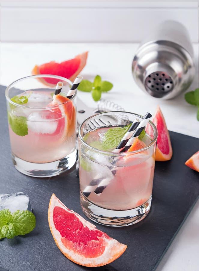Två exponeringsglas av grapefruktcoctailen med mintkaramellnärbild arkivbilder