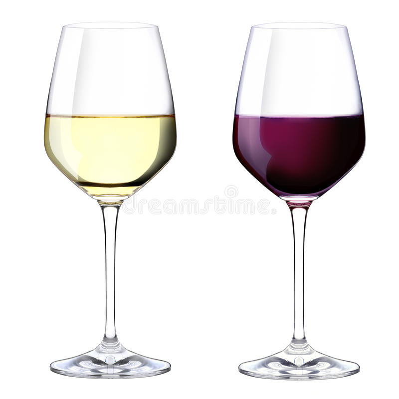 Två exponeringsglas av röd och vitwine fotografering för bildbyråer