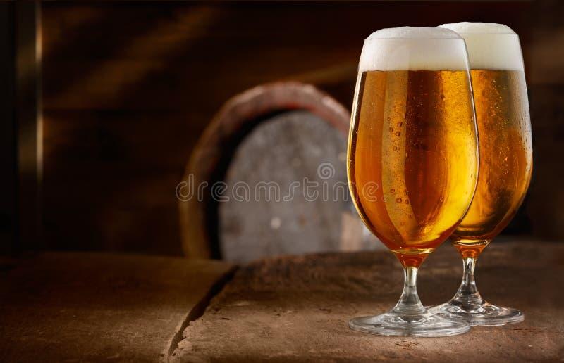 Två exponeringsglas av ny foamy öl royaltyfria bilder