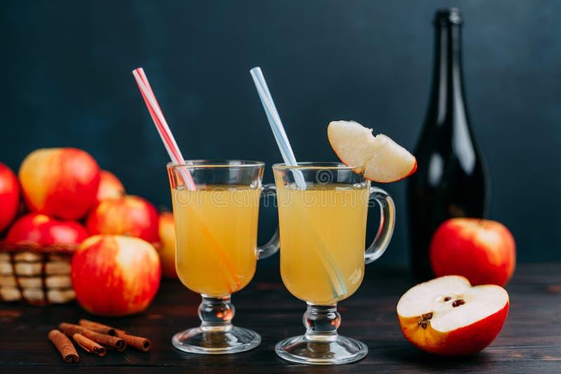 Två exponeringsglas av varm och kryddig äppelcider dekorerade med coctailen arkivfoto