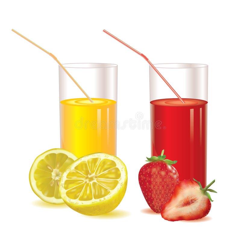 Två exponeringsglas för fruktsaft från jordgubbar och citronen royaltyfri foto