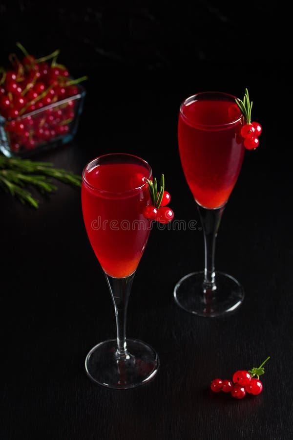 Två exponeringsglas fruktsaft för redcurrantvindrink dekorerade med rosmarin arkivbilder