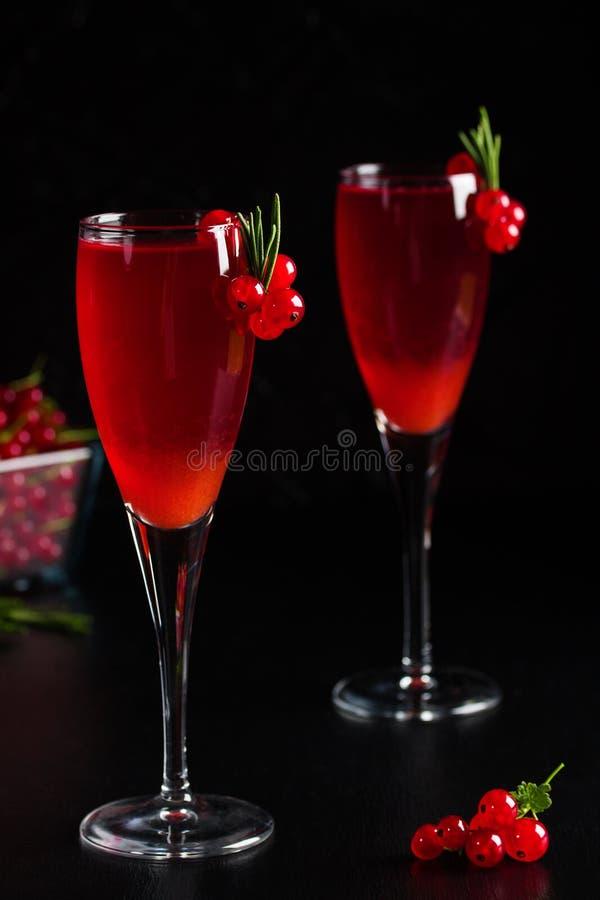 Två exponeringsglas fruktsaft för redcurrantvindrink dekorerade med rosmarin fotografering för bildbyråer